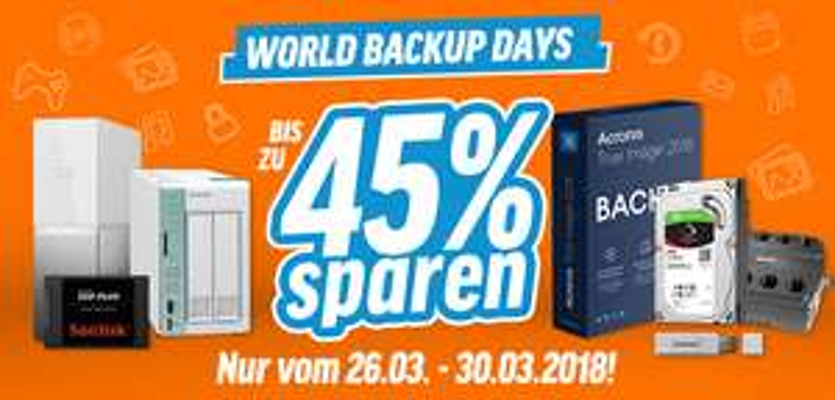 Nbb Rabattaktion: bis zu 15% auf ausgewählte SSDs / HDDs, bis zu 20 % auf NAS / USB Sticks, bis zu 45% auf Backup Software