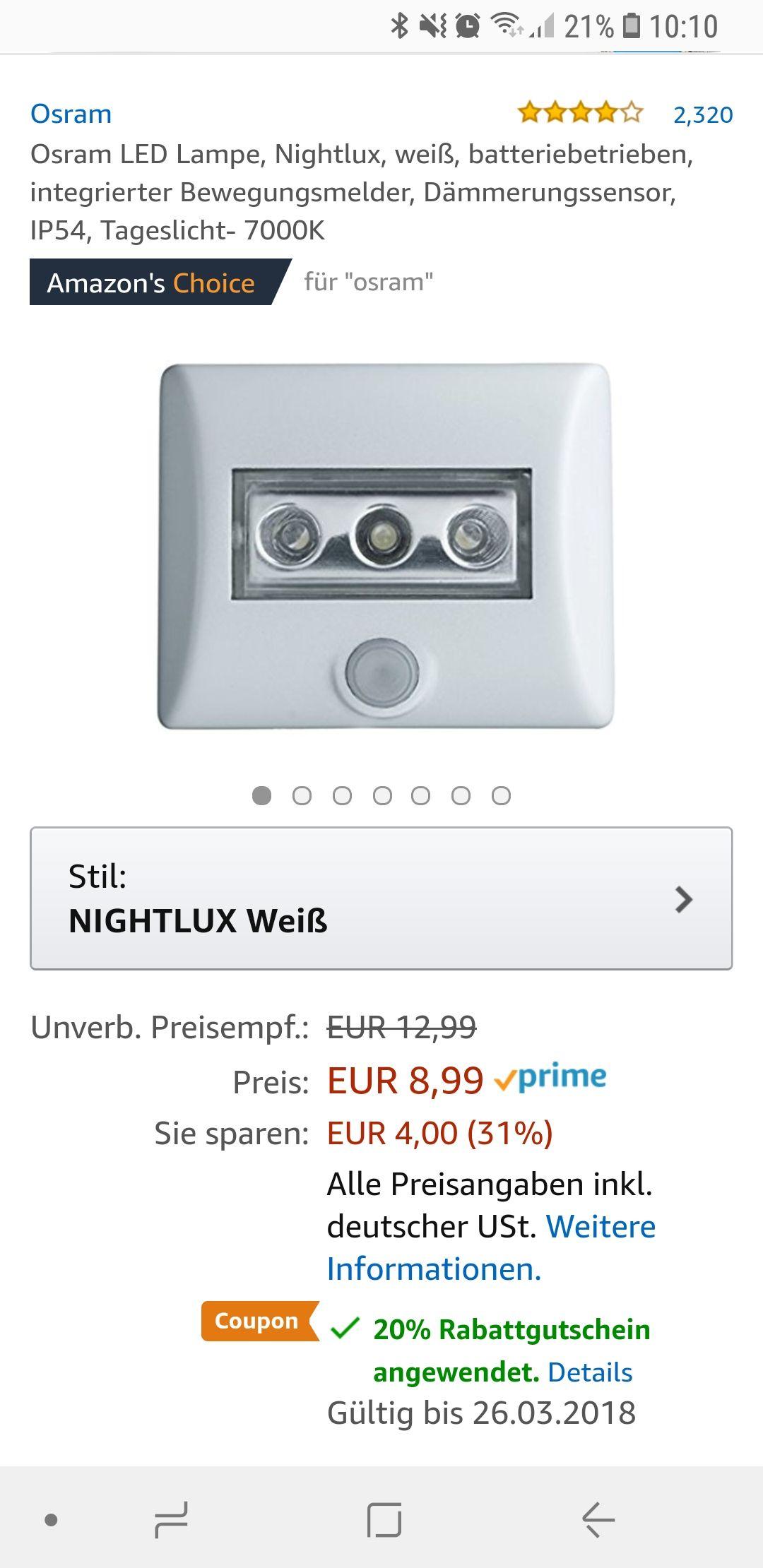 Osram Nightlux für 7,19€ (PRIME)