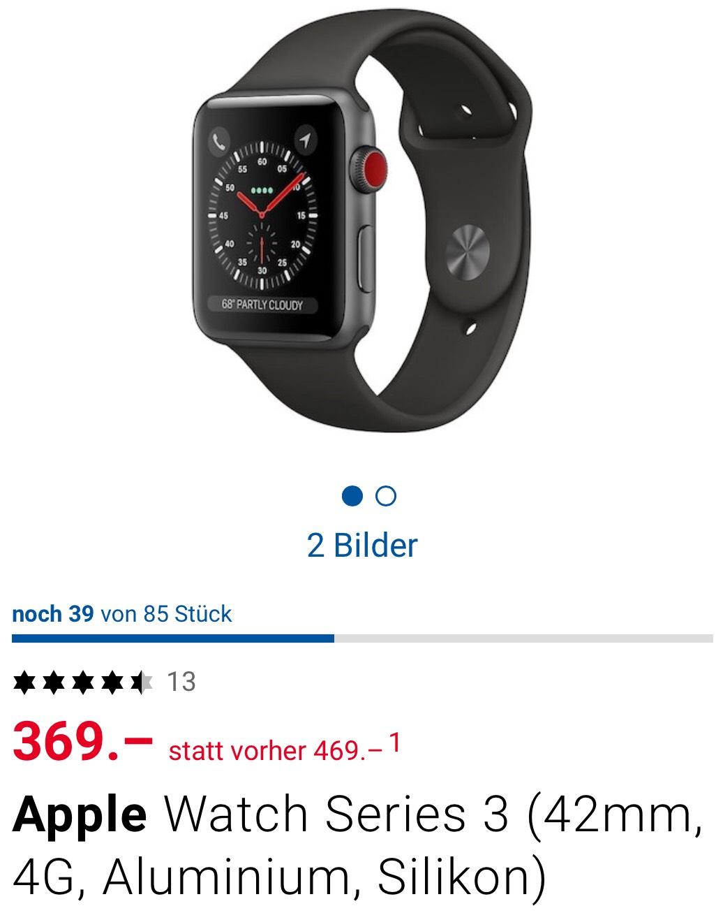 [SCHWEIZ] Apple Watch Series 3 (42mm) GPS + Cellular zum Bestpreis CHF 369
