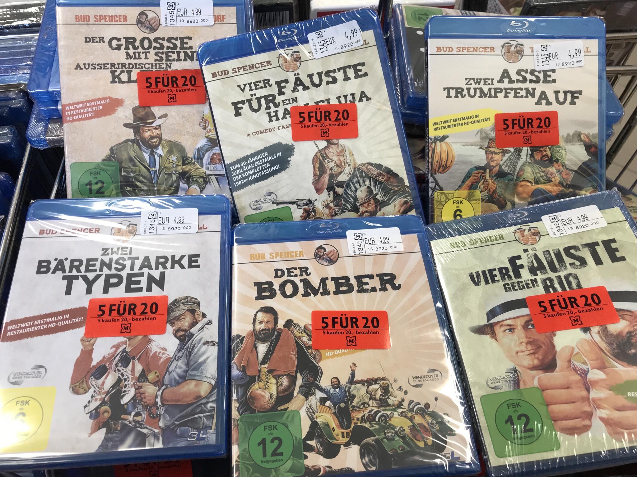 5 Blu-ray für 20,- € Aktion beim Müller Drogeriemarkt (evtl. nur lokal in Lünen) Bud Spencer u.a.