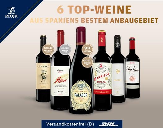 6 Rioja Weine für 36,90 Euro statt 76,70 Euro Vinos.de