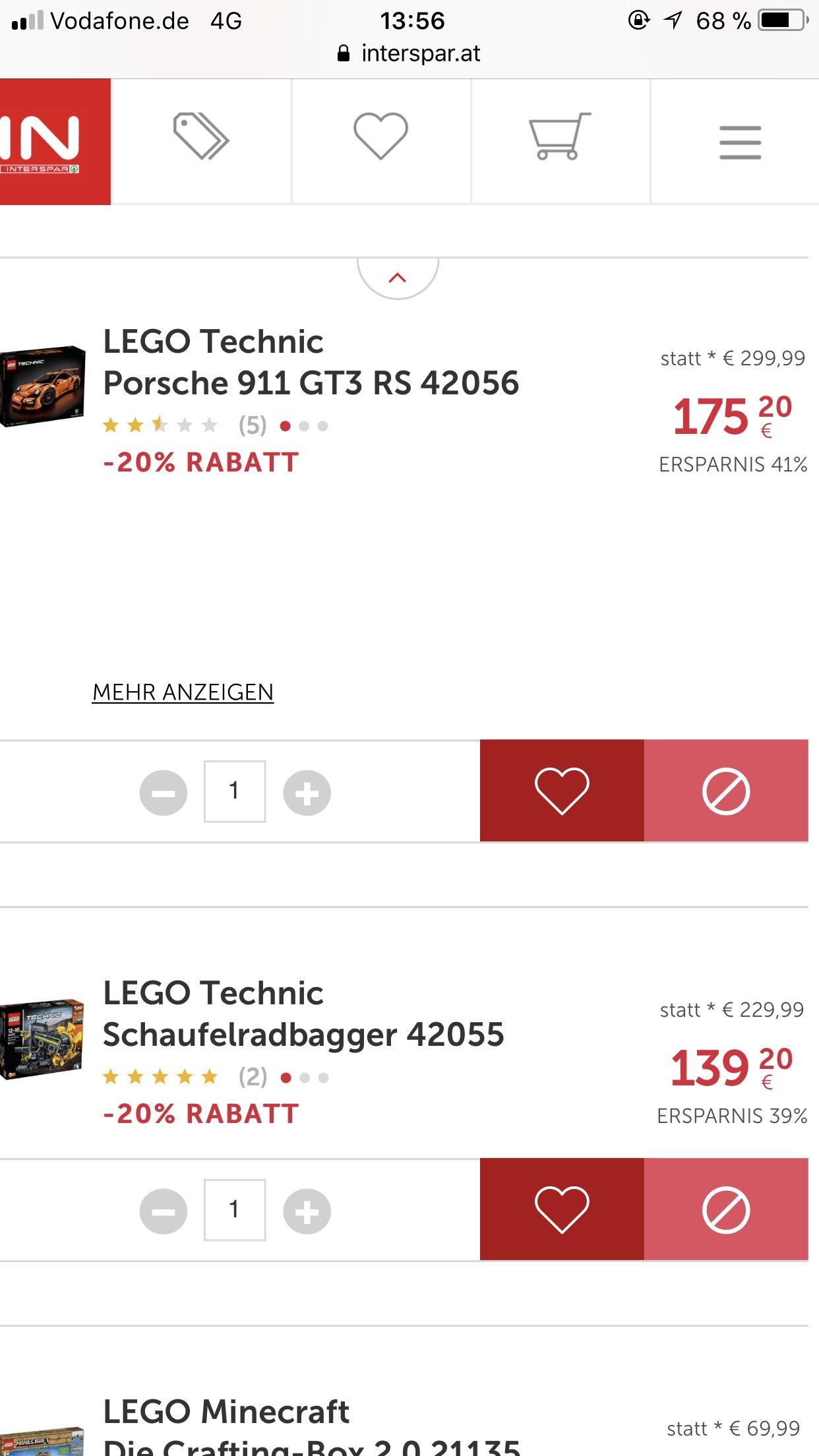 Lego Porsche GT3 RS 42056 oder Schaufelradbagger