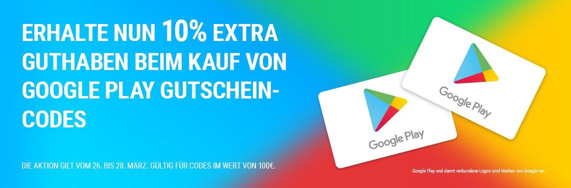 [Google Play] 10% Extra Guthaben beim Kauf von 100€ Guthaben