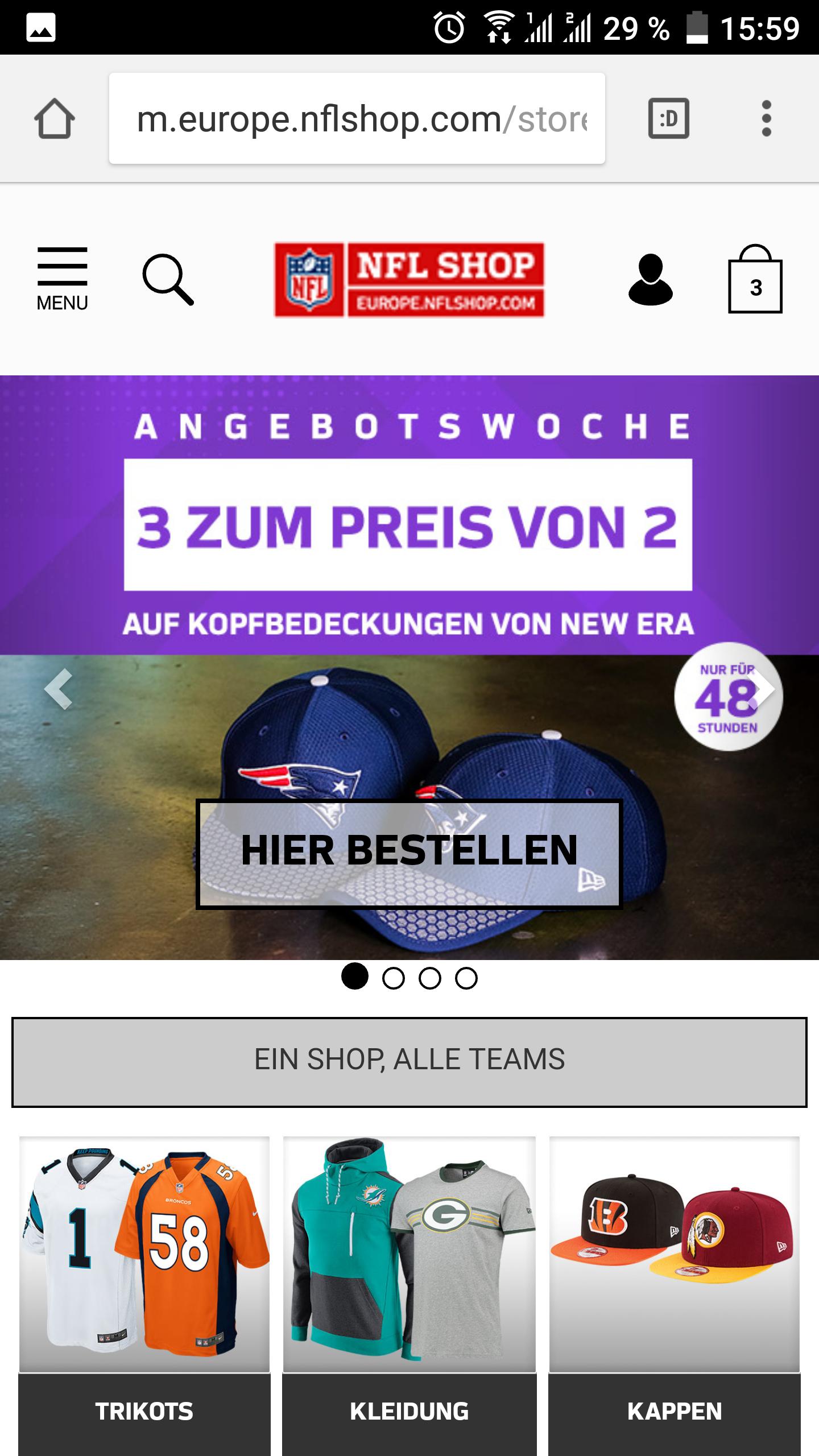 2 für 1 Aktion im NFL Shop Europe für New Era Kappen
