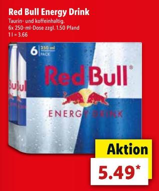 6x RedBull knapp 0,91€ pro Dose [Lidl]