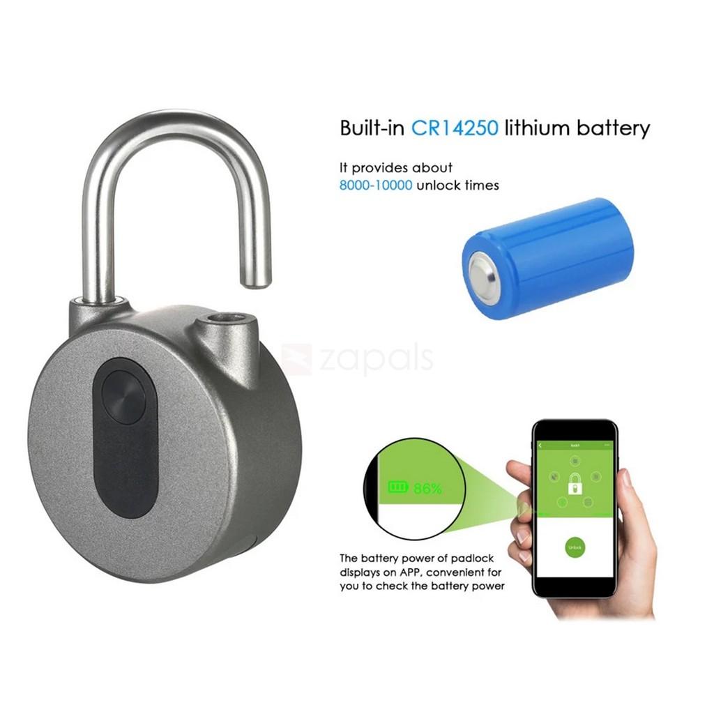 Wasserdichtes Vorhängeschloss mit Bluetooth & App Steuerung für 17€ (Zapals)