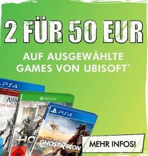 2 ausgewählte Ubisoft Spiele (PS4/Xbox One) für 50€ bei GameStop
