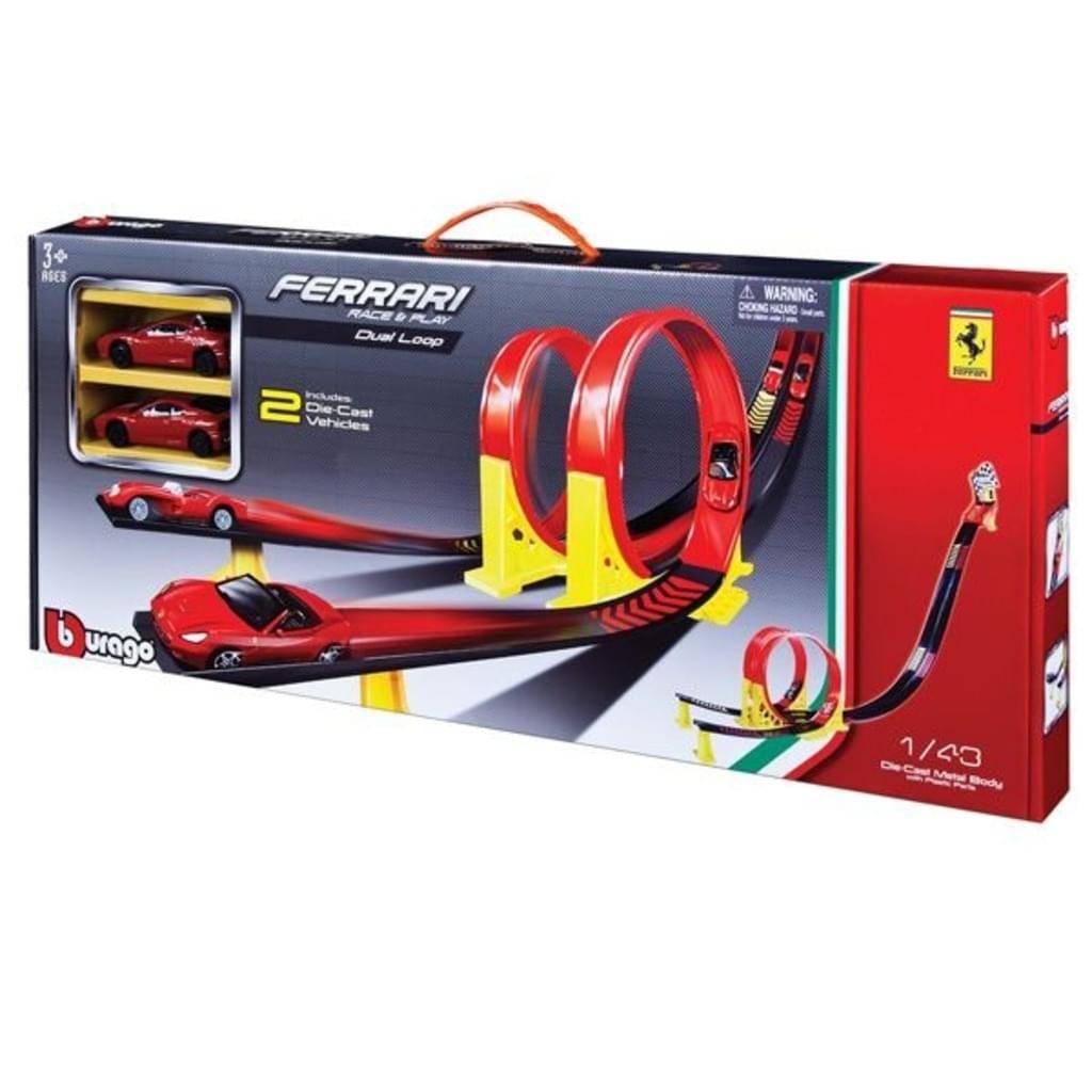 bburago FERRARI Twin Loop Set incl. 2 Ferrari-Spielzeugautos