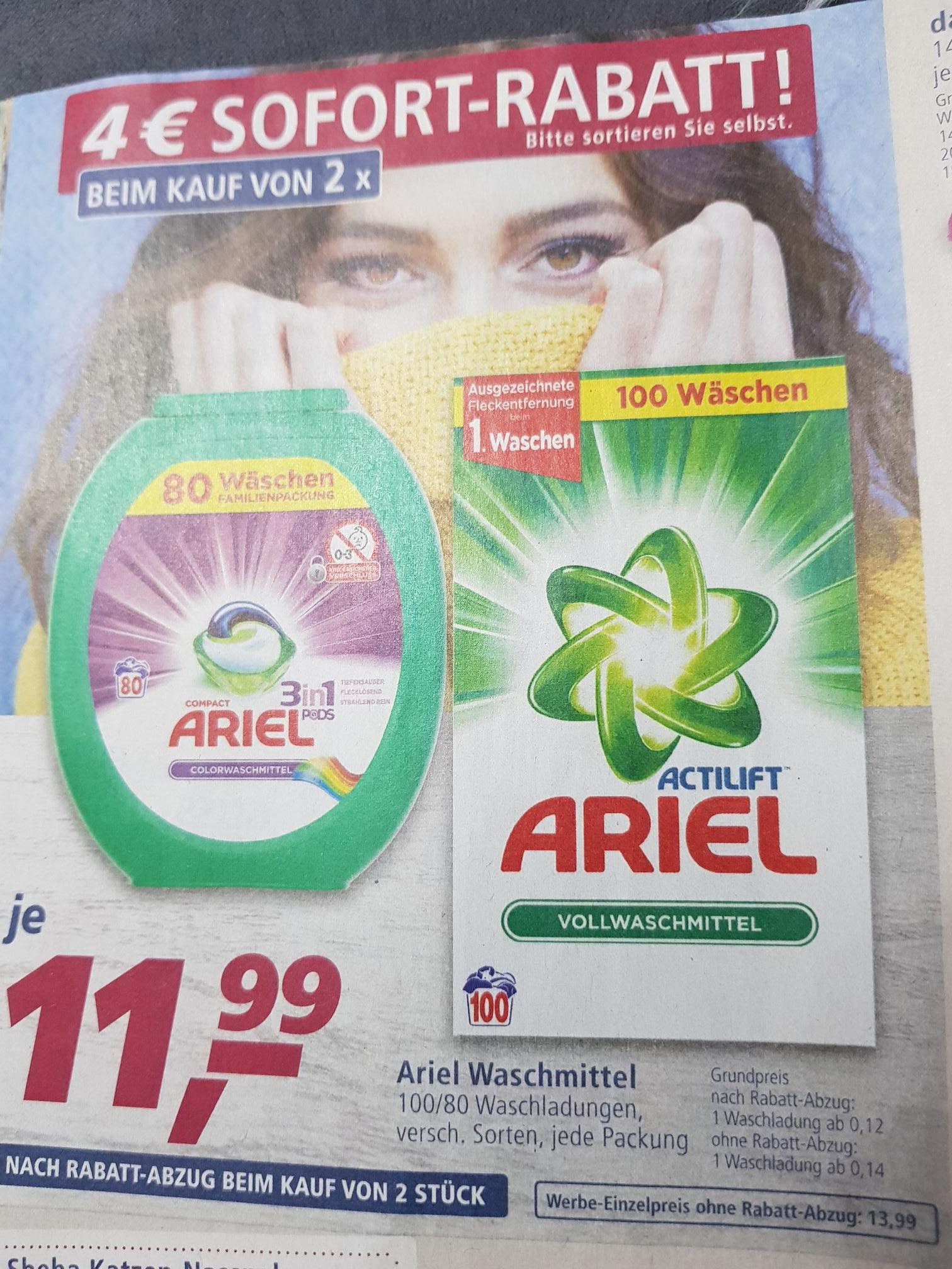 [Real] 2x Ariel 3in1 Pods Familienpackung (80 Wäsche) 0,15€/Waschladung