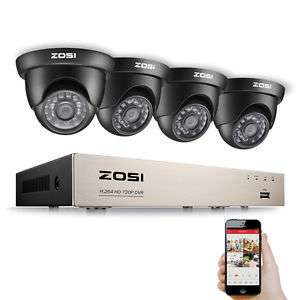 ZOSI 4er Set 720P HD Video Überwachungskamera 8CH TVI DVR