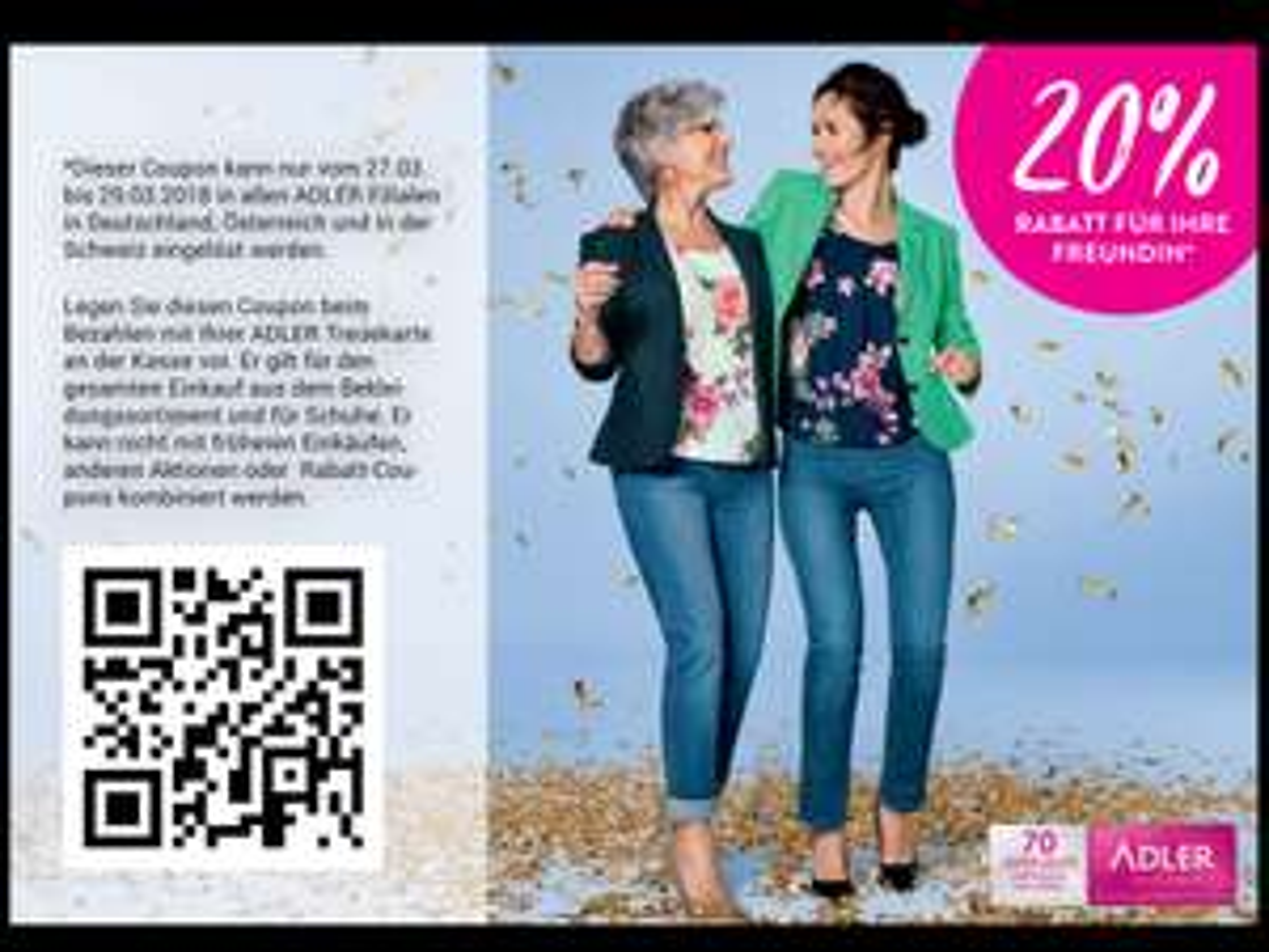 Adler Mode - 20% (online nochmal - 5% Shoop) für den gesamten Einkauf auf Bekleidung und Schuhe nur vom 27. - 29.03.18