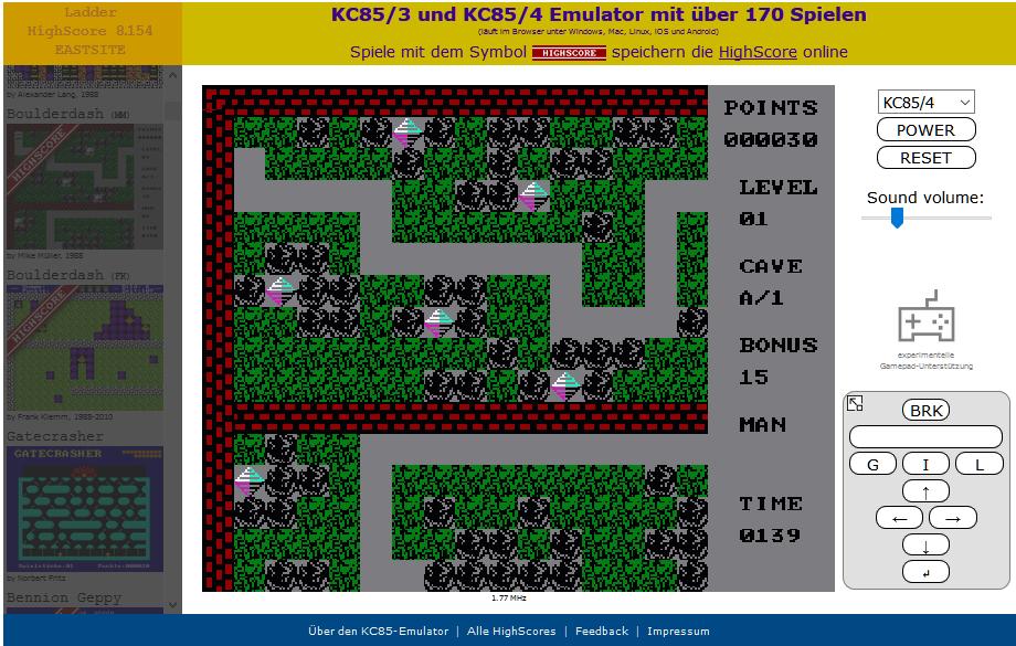 KC85/3 und KC85/4 Computer mit ca. 170 Spielen kostenlos im Browser emulieren - Retro-Ostalgie-Emulation für Android, iOS, Windows und Linux
