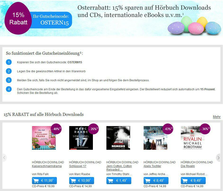 15% Osterrabatt auf Hörbücher, internationale eBooks, internationale Bücher u.v.m. UND 20% auf Tolino Zubehör