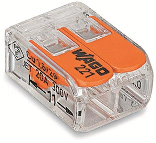 Wago 221-412 100 Stück Verbindungsklemme 2 Leiter mit Betätigungshebel 0,2-4 qmm kleine Bauform transparent
