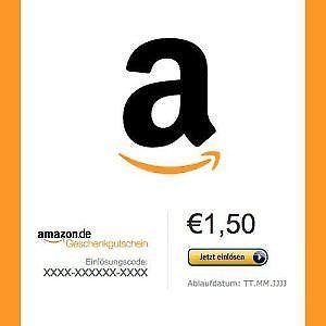 Amazon Geschenkgutschein 1,50€ Gutschein Code für 1,00€