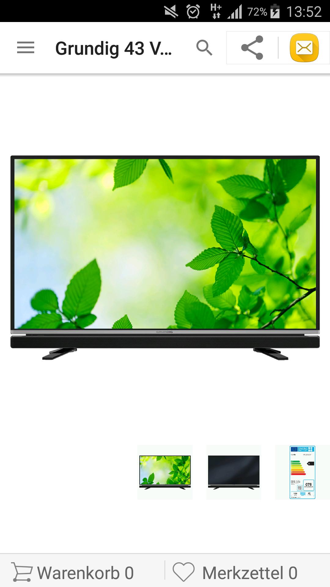 Grundig 43 VLE 6625 BP - 108 cm (43 Zoll) Fernseher (Full HD, Smart TV, PVR, WLAN, Triple Tuner (DVB T2), USB)