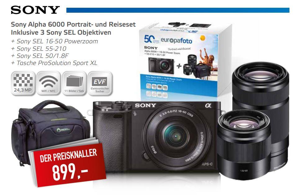 Sony Alpha 6000 + SEL 16-50 + SEL 55-210 + SEL 50 1.8 + Tasche