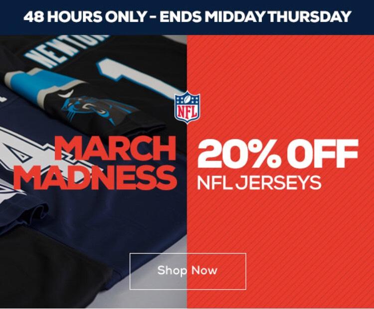 20% auf alle NFL Jerseys