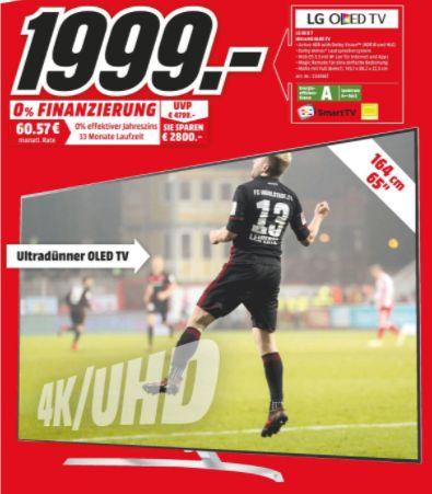[Regional Mediamarkt Hamburg] LG OLED65B7D LG OLED B7D - 164 cm (65 Zoll) OLED Fernseher (4K Ultra HD, HDR 10, Dolby Vision, Smart TV, PVR, WLAN für 1999,-€