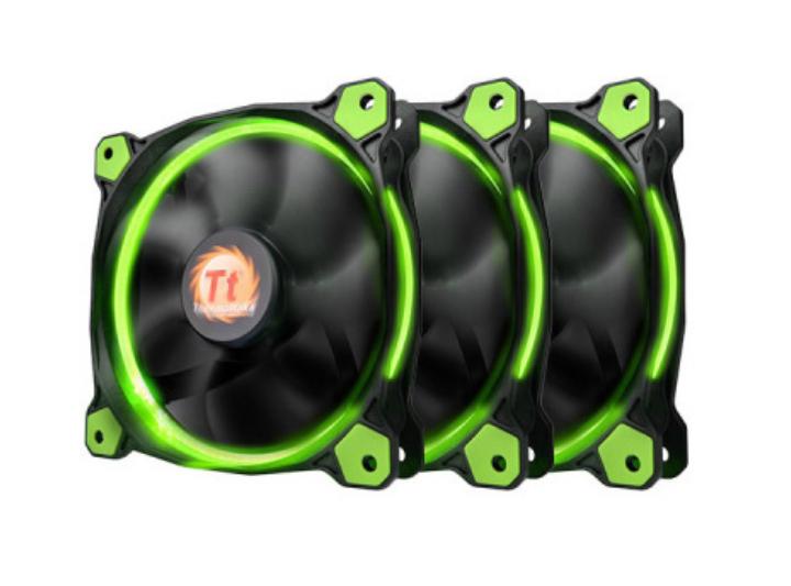 Thermaltake Riing 12 LED grün 120mm Gehäuselüfter, 3er-Pack [NBB]