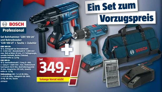[Bauhaus] Bosch Professional Akku-Set (Bohrhammer und Bohrschrauber inkl. Zubehör und Tasche)