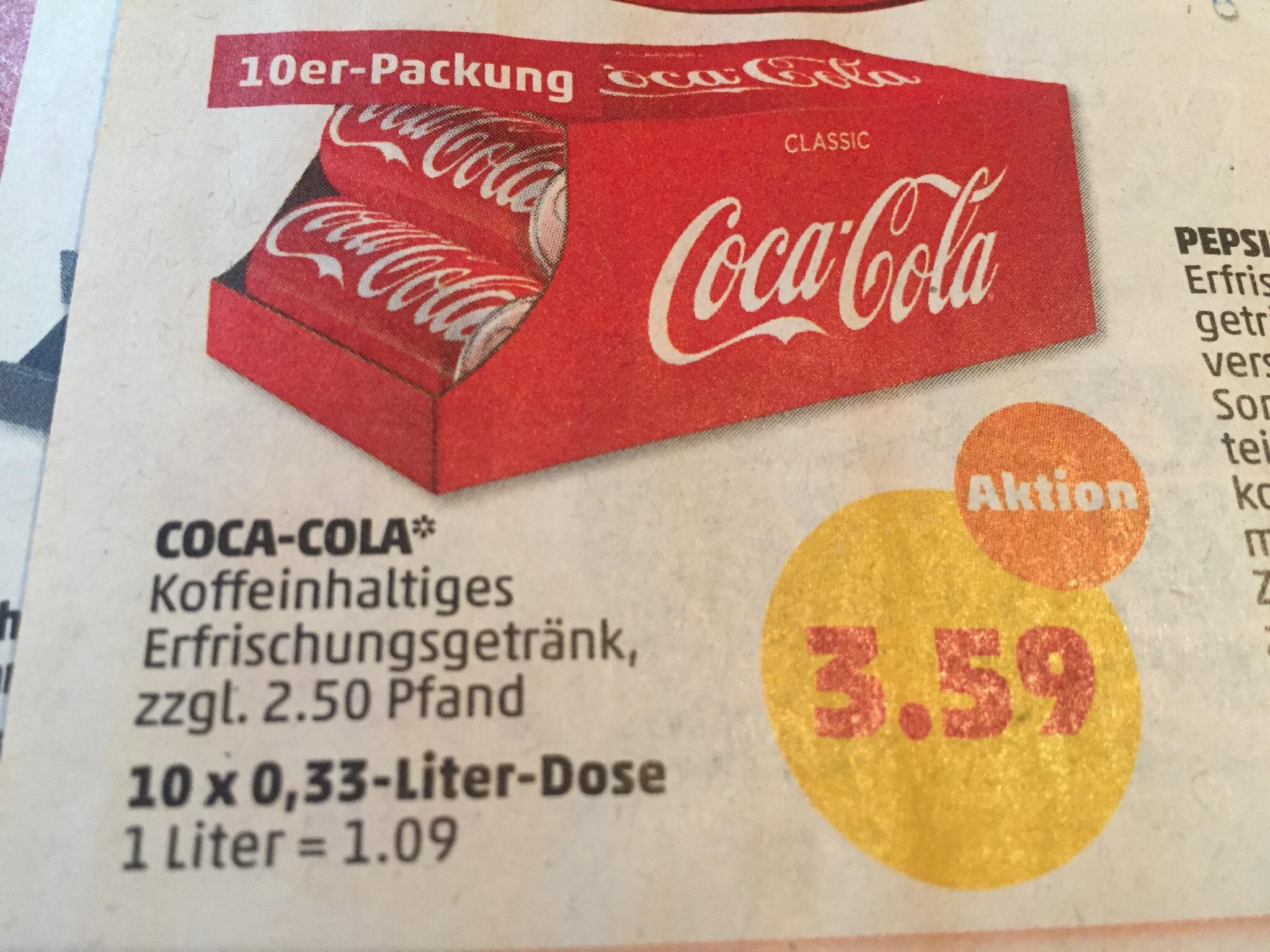 Coca Cola Friendspack ( 10x0,33L ) 3,59€(zzgl 2.50€ Pfand ) ab 03.04-07.04 bei Penny