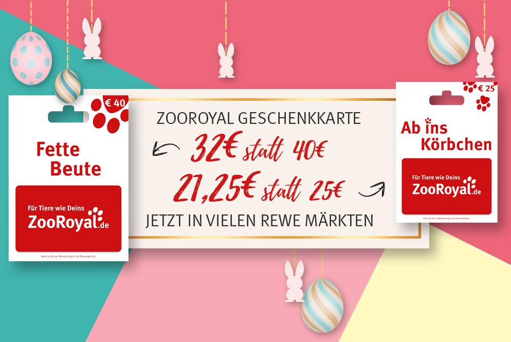 REWE/ZooRoyal Geschenkkarte 32€ statt 40€ und 21,25€ statt 25€