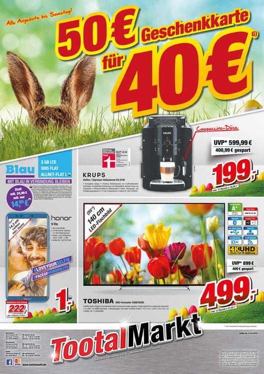 50 € Gutschein für 40 € [-20%] (TootalMarkt) max. 2 p. P.