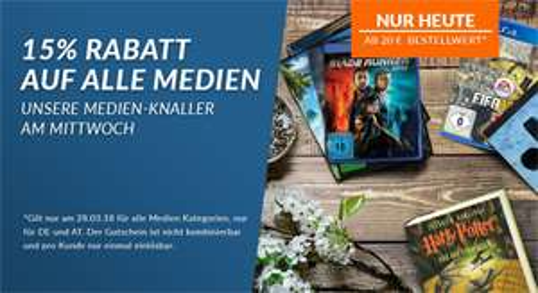 15% Rabatt auf alle Medien ab 20€ MBW (nur Heute 28.03.) [Rebuy.de]