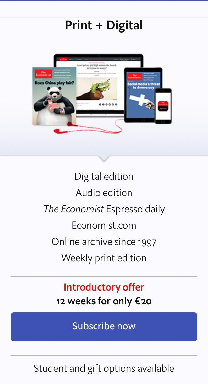 The Economist Print & Digital - 12 Wochen