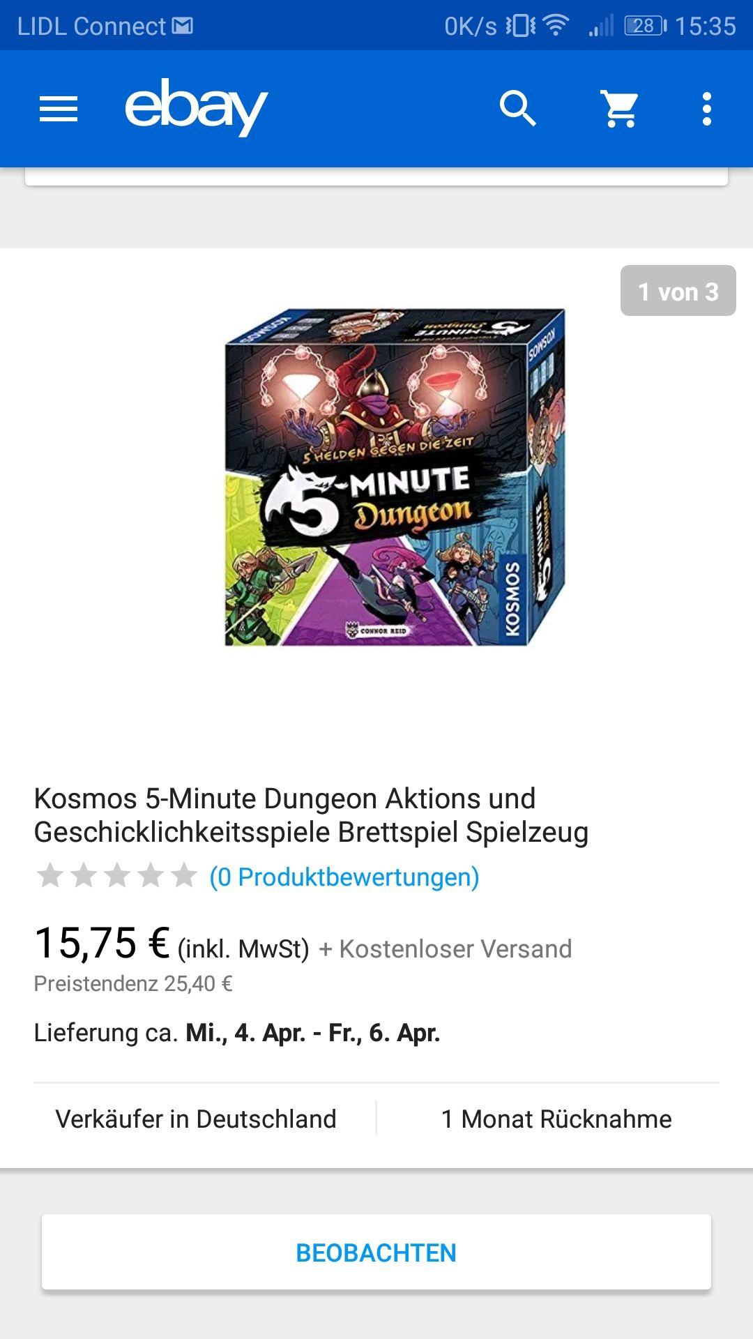 Kosmos 5-Minute Dungeon Aktions und Geschicklichkeitsspiele Brettspiel Spielzeug