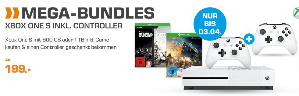 [Saturn] Micosoft XBox One S /500 GB Bundles **Rocket Leauge oder Assassin´s Creed Origins oder Mittelerde:Schatten des Krieges** je mit 2.Controller für je 199,-€ oder als 1TB Bundles für 229,-€