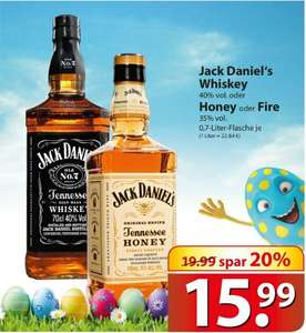 Jack Daniels Old No.7 0,7l 40% oder Honey und Fire 35% (lokal Famila)