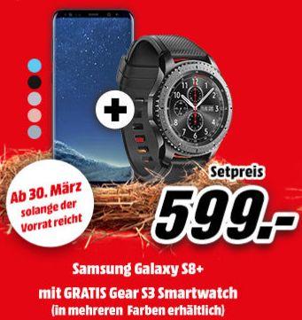 [Mediamarkt Österreich ab 30.03] Samsung Galaxy S8 Plus, 64GB in allen Farben + Samsung Gear S3 Frontier Smartwatch ab 599,-€