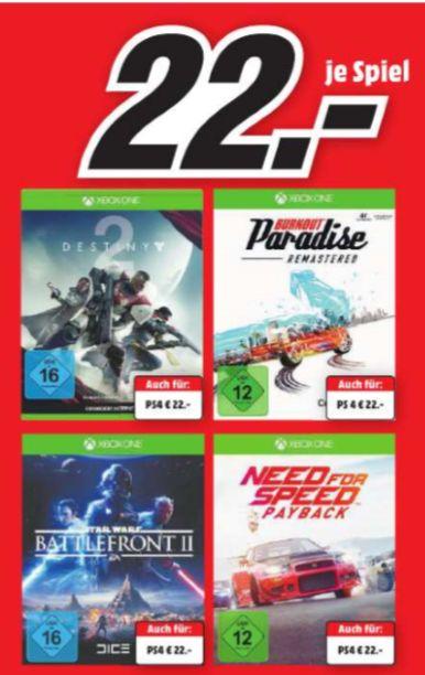[Regional Mediamarkt Osnabrück-Belm] Need for Speed: Payback // Burnout: Paradise // Star Wars: Battlefront 2 // Destiny 2(Je  Game für Playstation 4 und Xbox One) für je 22,-€**Kombinierbar mit der 5 für 3 Aktion**
