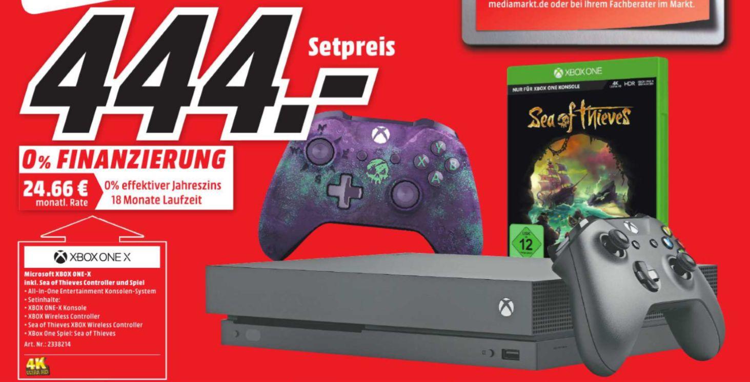 [Regional Mediamarkt Lichtenfels] MICROSOFT Xbox One X 1TB + Sea of Thieves + Sea of Thieves Controller für 444,-€