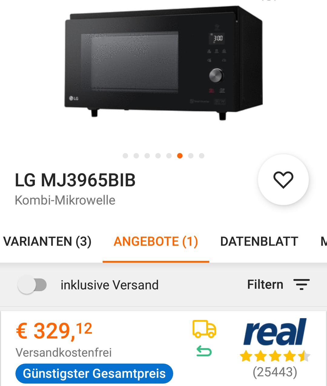 LG Kombi Mikrowelle MJ3965BIB bei IBOOD -50%