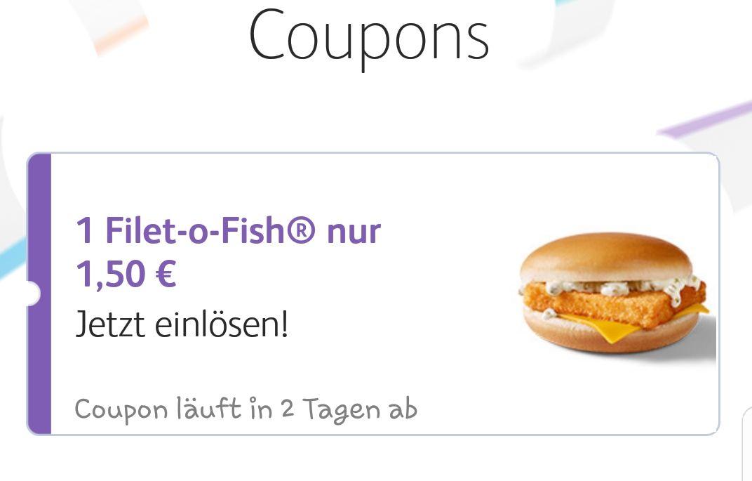 Nur bis zum 31.03.2018 erhaltet Ihr den Filet O Fisch für nur 1,50€ mit McVip