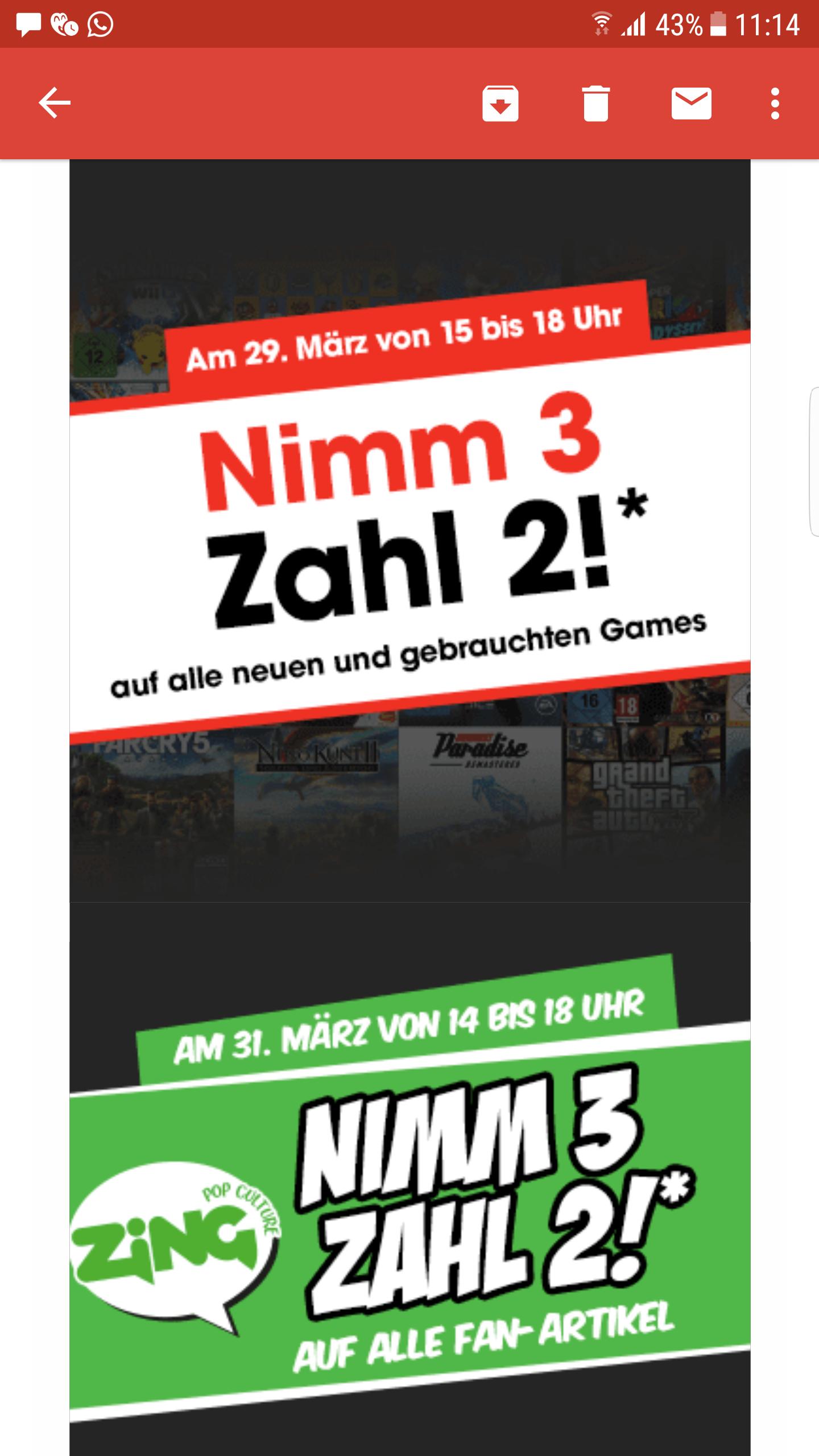 [LOKAL, Essen Limbecker Platz] Nur heute: GameStop: Nimm 3, Zahl 2 auf Games und Fan Artikel