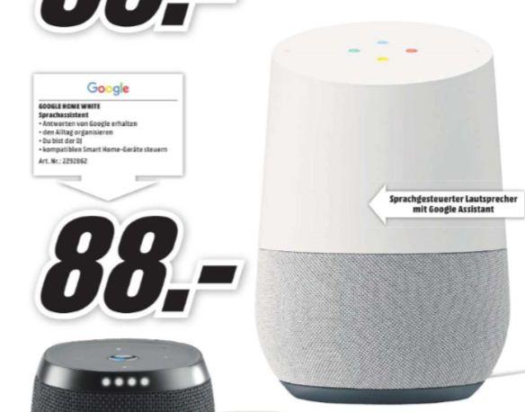 [Regional Mediamarkt Zella-Mehlis] GOOGLE Home, Smart Speaker mit Sprachsteuerung, Weiß/Schiefer für 88,-€