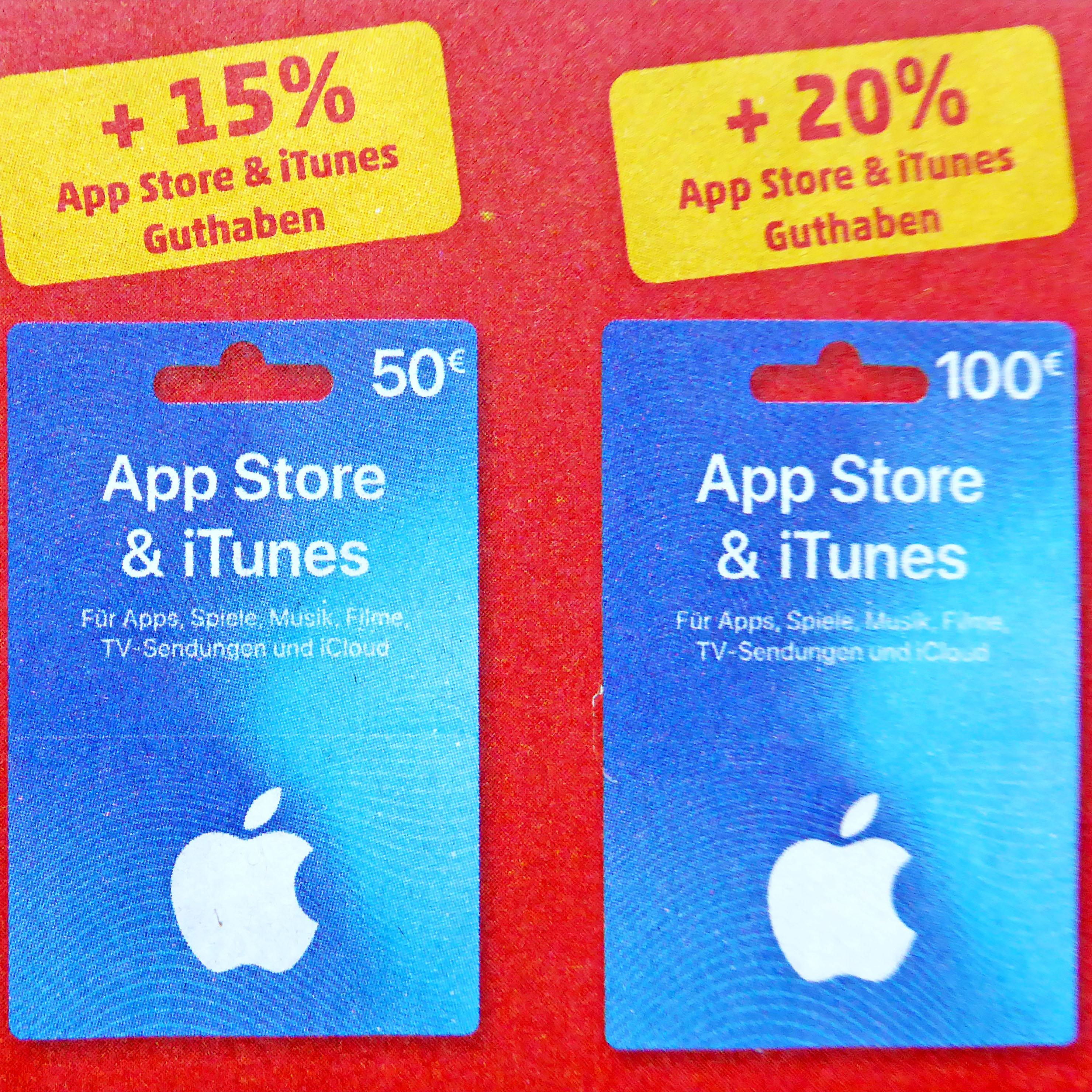 iTunes & App Store Gutschein 20% ! Guthaben on Top bei (Penny)