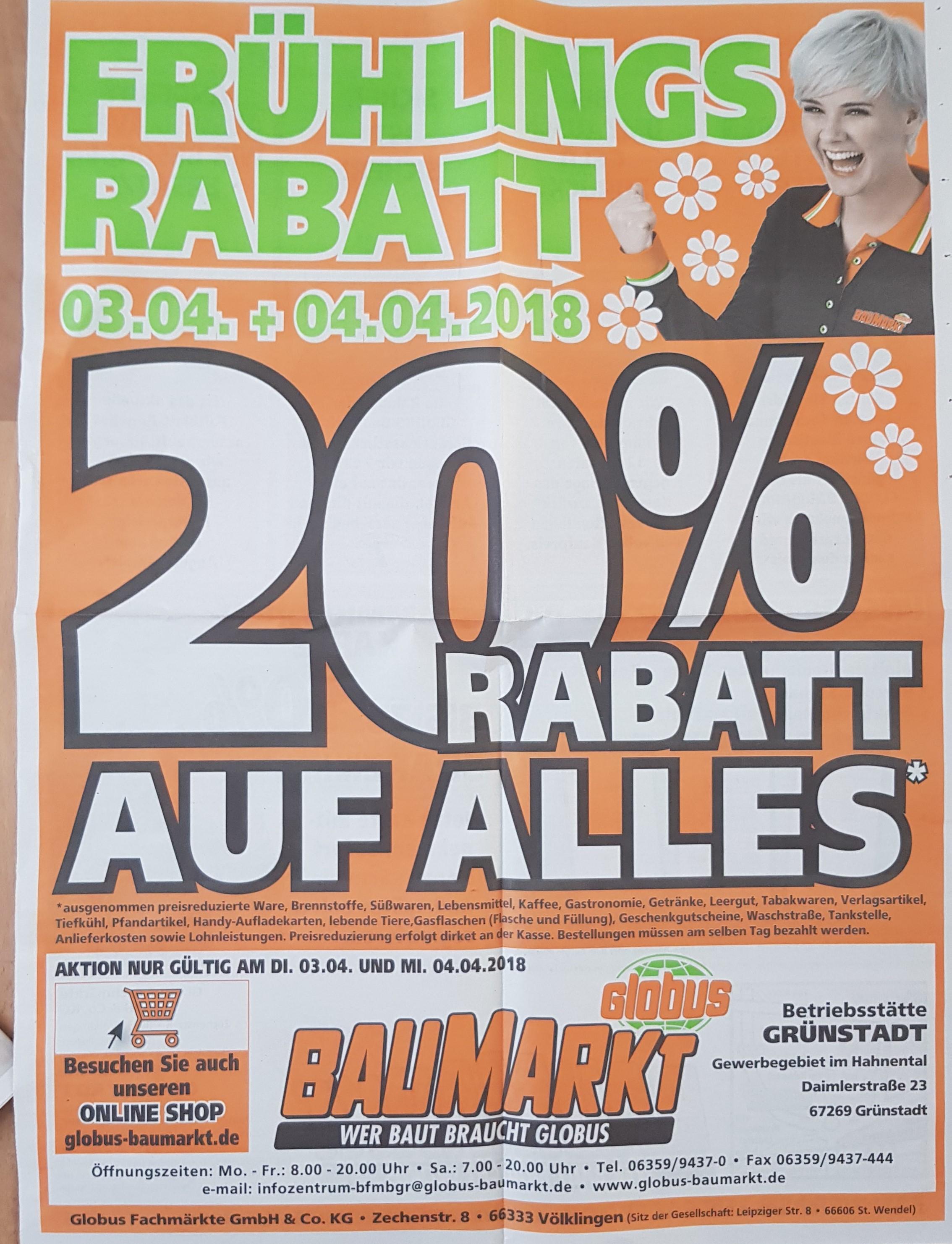 [offline] Globus Baumarkt 20% Rabatt am 03.04 und 04.04
