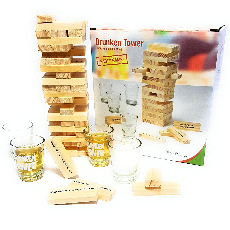 [Amazon] Trinkspiel Partyspiel Wackelturm Drunken Tower inklusive vier Trinkgläser für 9,99€