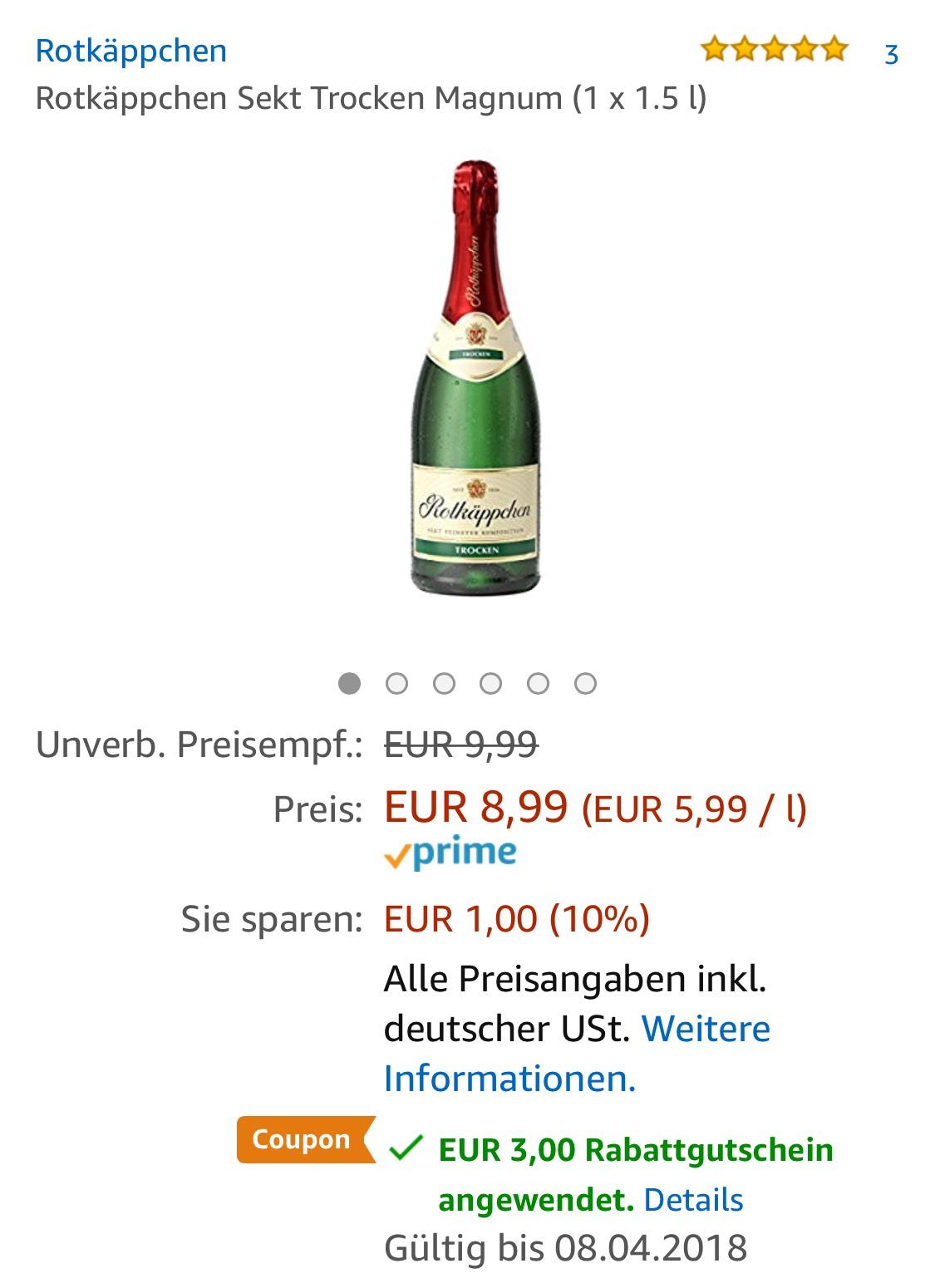 Rotkäppchen Sekt Trocken Magnum Flasche 1,5l [Amazon.de]