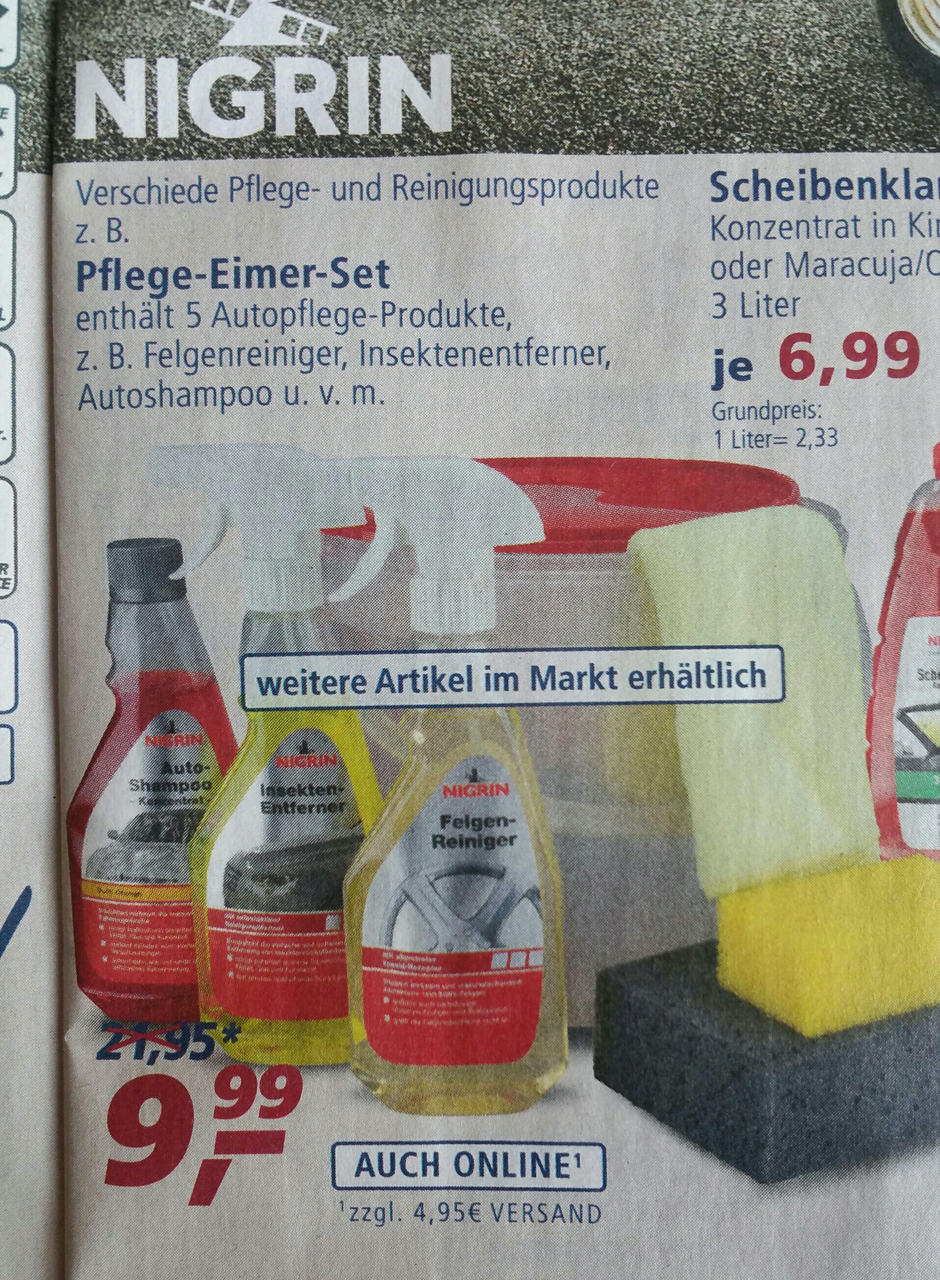 NIGRIN Pflegeeimer mit 5 Autopflege-Produkten