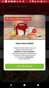 Lieferheld: KINDER Ice Cream Sandwich gratis (Pizza Max)