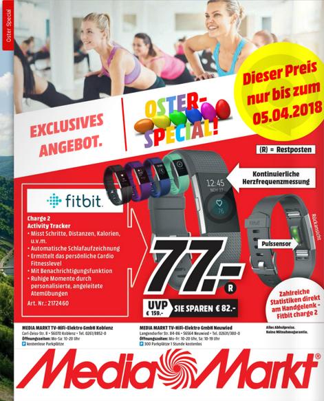 [Mediamarkt nur offline] Fitbit Charge 2 Activity Tracker Schwarz (auch andere Farben erhältlich) für 77,00€ [Lokal Koblenz und Neuwied] [Idealo: 99,00€]