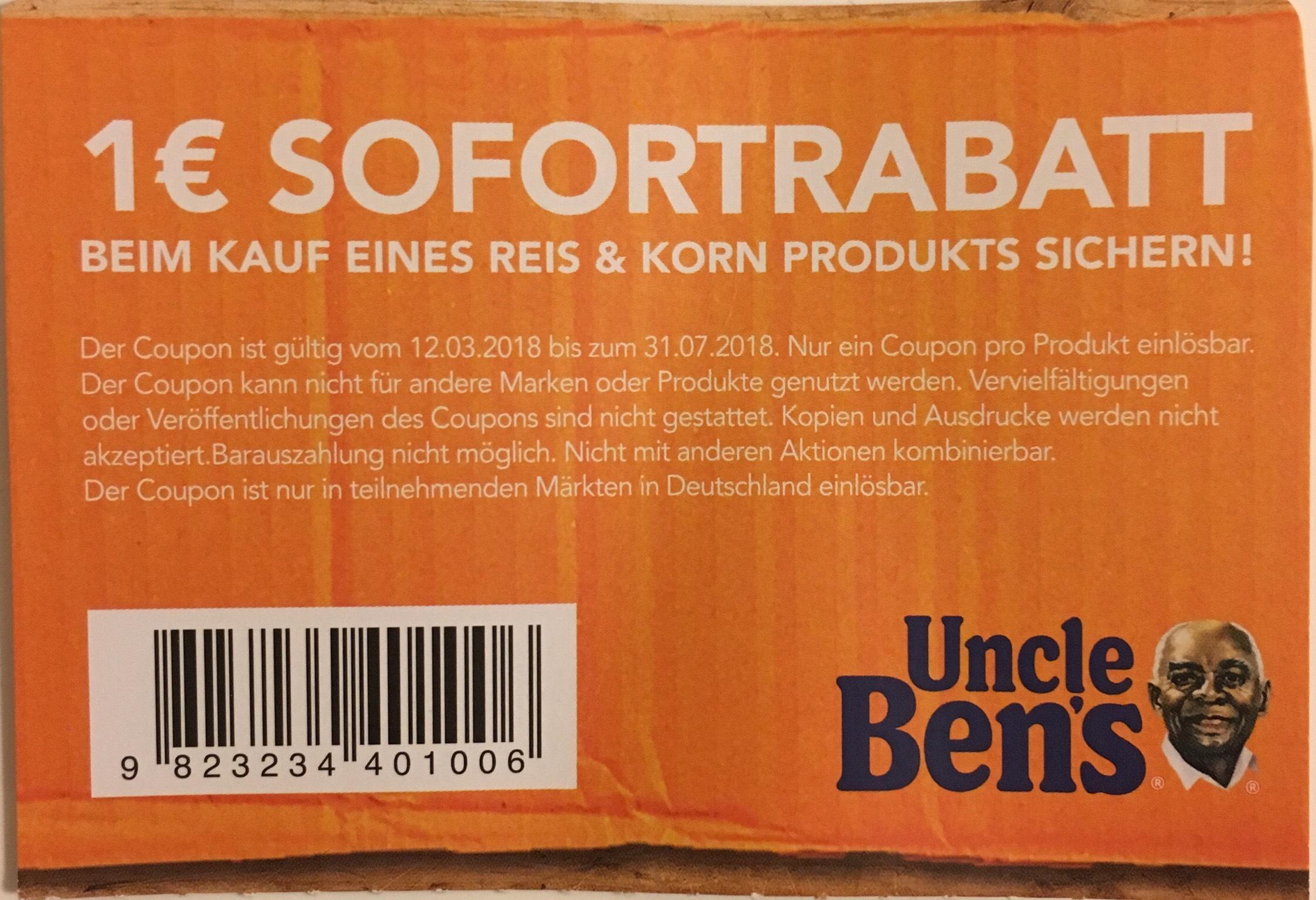 Uncle Benz 1€ Sofortrabatt auf Reis & Korn Produkte