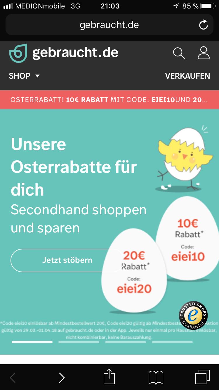 20€ gebraucht.de Gutschein (40€ mbw)
