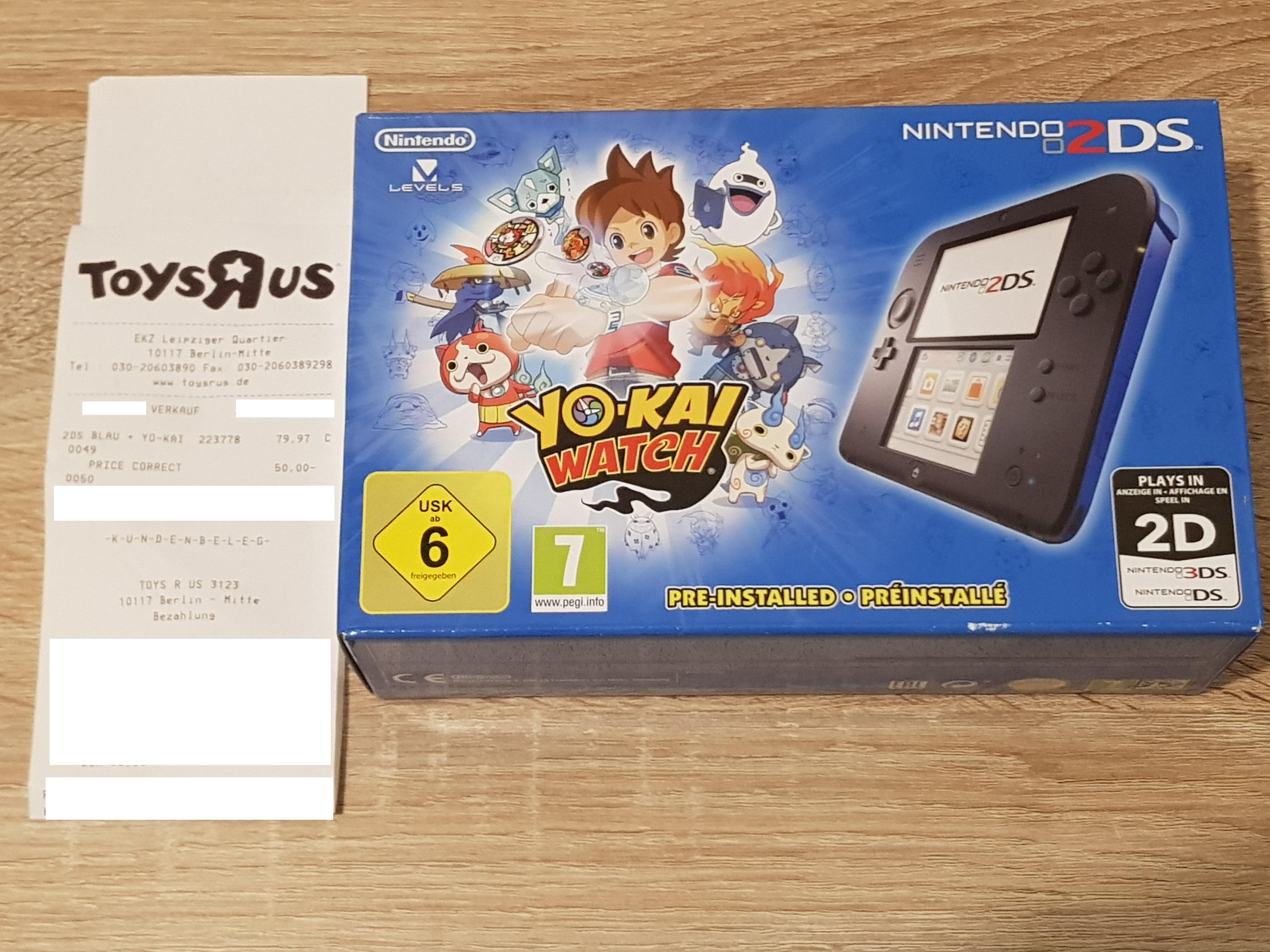 """[Lokal Berlin] Nintendo 2DS - Konsole (schwarz-blau) inkl. Yo-kai Watch für 29,97€ @ Toys """"R"""" Us (Mall of Berlin)"""